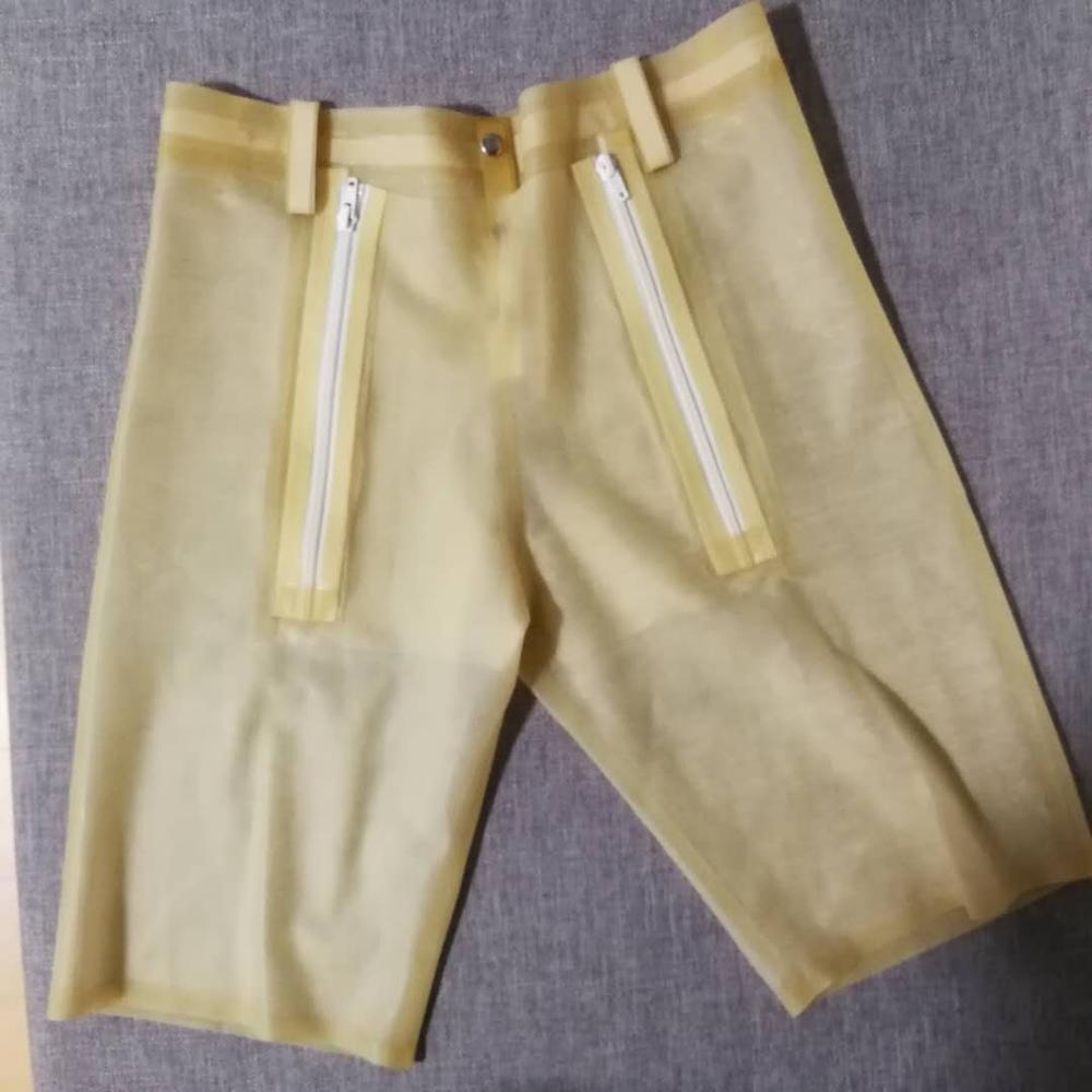 Pantalon court en Latex Transparent avec pantalon en Latex zippé Codpiece pour homme taille M/L instock