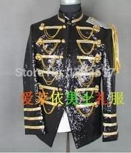 Free ship mens tuxedo jacket full sequins medieval jacket, stage performance