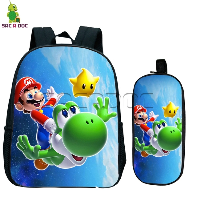 Super Mario Galaxy Kids Backpacks 2 Pcs Sets Small Backpack Children