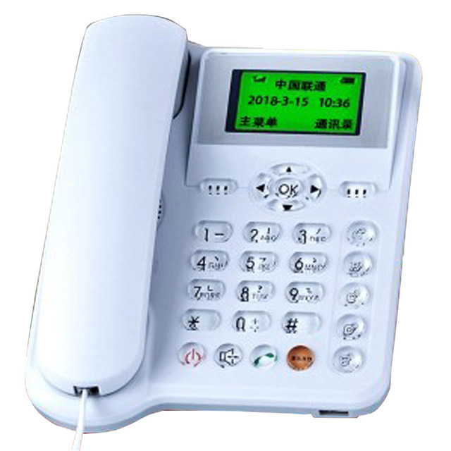 US $42 48 |GSM 900/1800MHz Support SIM Card Landline Telephone With Call ID  Handfree Landline Phone Fixed Wireless Telephone Home White-in Telephones