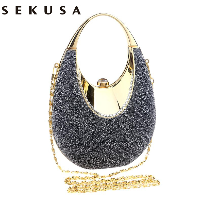 SEKUSA Special Sequined Women Evening Bags With Handle Small Day Clutches Purse Bag For Wedding Party Dinner Evening Dress Bag sekusa women evening bags chain shoulder messenger bag beaded rhinestones handbags with handle day clutches for wedding