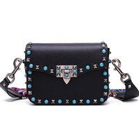 The Fall Of New Energy Saving Color Turquoise Color Woven Bag Rivets Small Wide Straps Single
