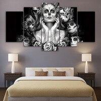 HD Impresso Day of the Dead Rosto 5 peça canvas arte da pintura sala de estar decoração arte da parede da lona do crânio Livre grátis