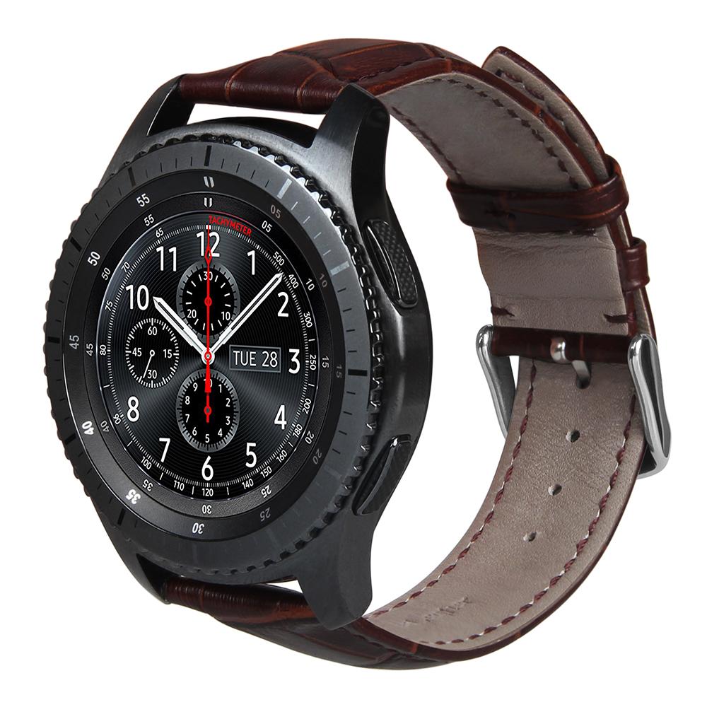 Prix pour Brun En Cuir Véritable Crocodile Motif Pour Samsung Gear S3 Smart watch 22mm Remplacement wrist Band pour les Engins S3 Montre Bande