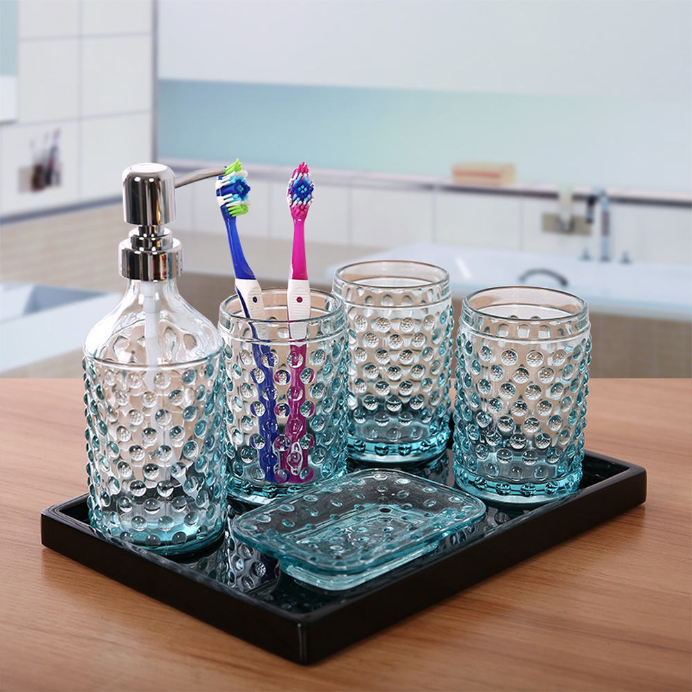 Glass wash group creative transparent blue bathroom five piece set brushing cup Mouth cup LO7281119 мел silver cup blue 12шт