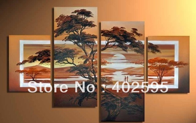 "Modern Oil Painting On Canvas:""African Scenery Guaranteed 100% Free shipping YP631"