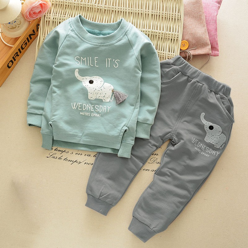 Baby boy Clothes Set Autumn Children Clothing Sets kids Girls Long Sleeve Elephant Cotton Pants Boys Clothes Sports Suit new 2014 spring autumn girls cartoon spider man suit boy long sleeve pants clothing set high quality baby kids casual clothing