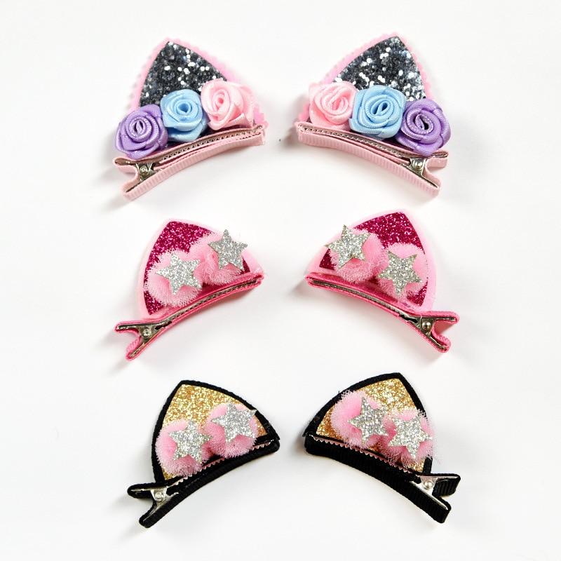 2PCS/lot Children Baby Girls Hair Accessories Clip Kids Hairpins Barrettes Bow Headwear Flower Cat Ears Hairpin