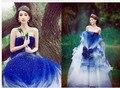 Daw1065 azul branco swithin vestido formal primavera gracefulness roupas de palco vestidos de casamento