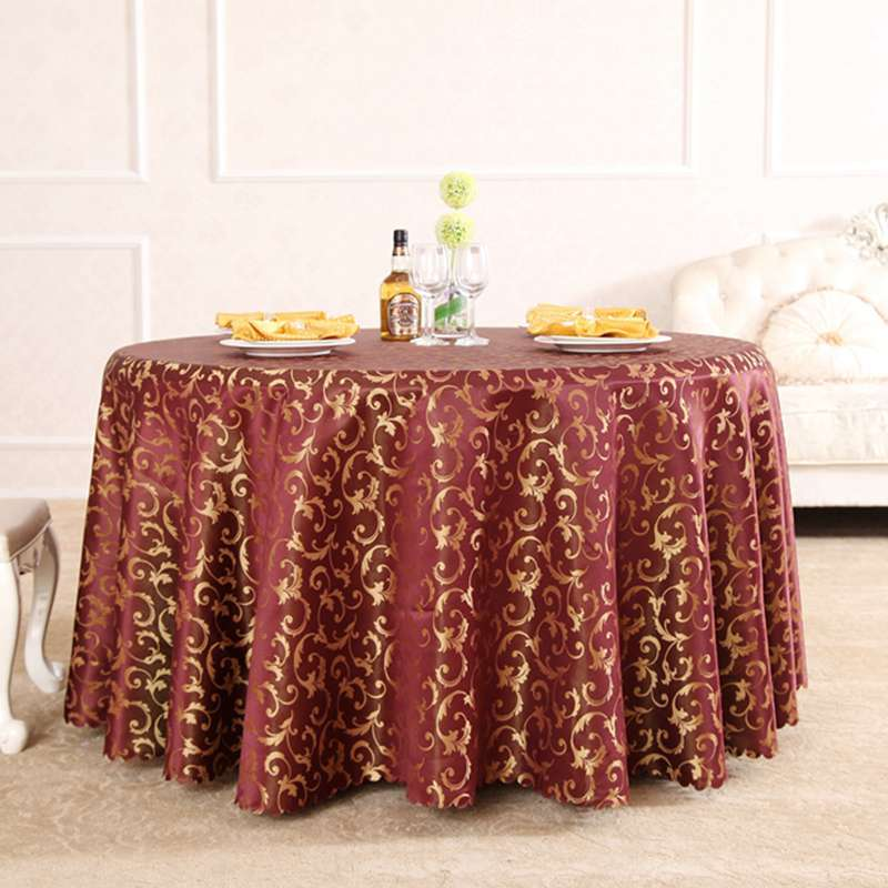 Heavy Wine Morning Glory Polyester Hair Rectangle Square Tablecloths Hotel All Sizes Table Cloth For Dining