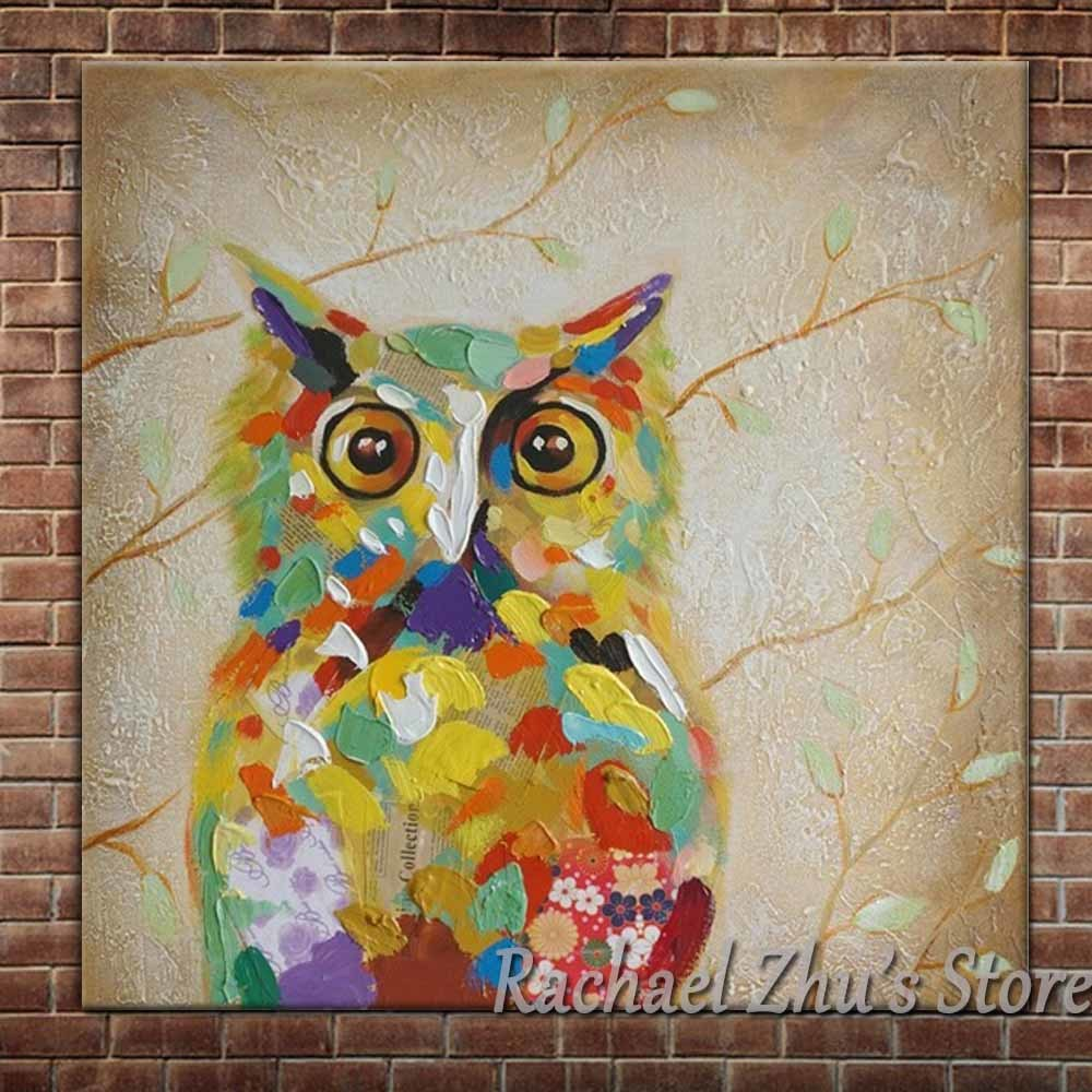 Hand Painted Lovely Cartoon Animal Oil Painting On Canvas Cartoon Color OWL Pictures Childrens Room Wall Decor Christmas Gift