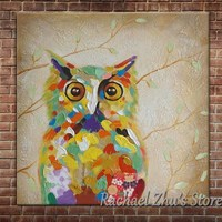 Hand Painted Lovely Cartoon Animal Oil Painting On Canvas Cartoon Color OWL Pictures Children's Room Wall Decor Christmas Gift