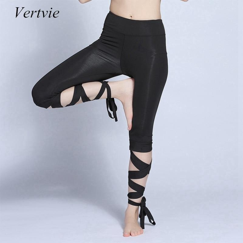 Vertvie New Women Yoga Pants Sports Fitness Cross Yoga Leggings High Waist Ballet Dance Tight Bandage Cropped Pants Sportswear