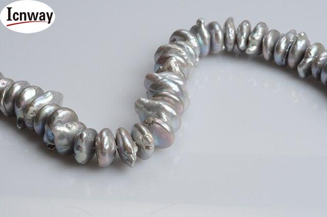 Naturalne AA szare pieczarki świeże słodkowodne perły 12-16mm 15 cali naszyjnik diy bransoletka kolczyk hurtownia icnway