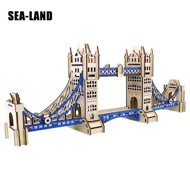Enfants Jouet Pour Enfants De 3D Laser puzzle en bois Kit Le Tower Bridge bricolage jouet montessori aussi pour Adulte Bon Cadeau Bon Passe-Temps cadeau