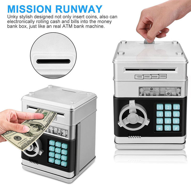 US $14 51 45% OFF|Creative Electric Automatic Large Password Piggy Banks  ATM Money Bank Box For Money Saving Moneybox For Kids Gift-in Money Boxes
