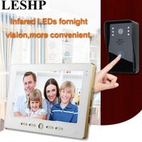 LESHP 10 Inch Video Door Phone Intercom Doorbell Touch Button Remote Unlock Night Vision Security CCTV