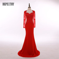 Custom Made Long Sleeve Vestido Longo Red Satin Long Evening Dress 2016 New Arrival Prom Dress