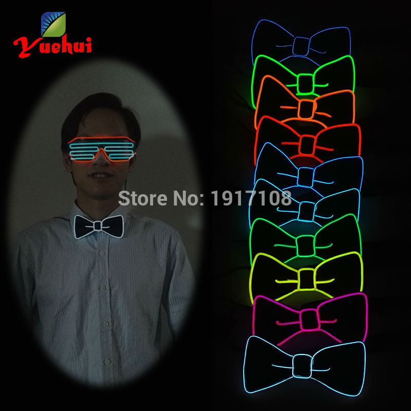 2017 Sound activated 10 Color Fashion Design Glowing Flashing EL Bow Tie electronic LED bow Tie for party Decoration,bar,club,DJ