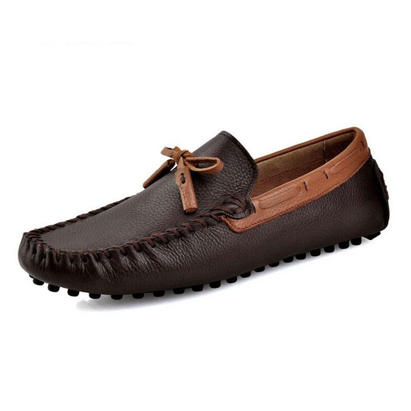 dark Los Cuero Moda Mocasines brown Black Zapatos Slip 2017 Blue on Genuino Gordo Holgazán Barco De Cómodos Hombres Casuales Conductor red 1ZxT5q
