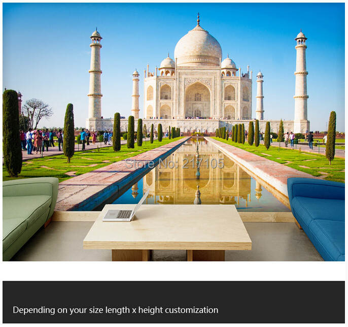 Custom photo wallpaper,Taj Mahal,3D large wallpaper mural for living room bedroom kitchen wall waterproof PVC wallpaper the construction of taj mahal tourism 3d cubic life manual paper card card creative stereo