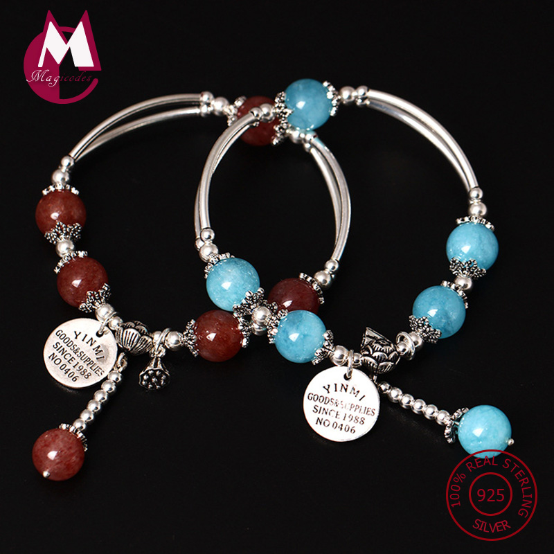 S925 Sterling Silver Bracelet For Women Natural Stone Beads Bracelets & Bangles Handmade Lucky Gem Tassel Fine Jewelry YB37 s925 sterling silver bell lucky red rope bracelet handmade bracelets wax string amulet jewelry 1383