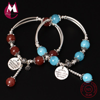 S925 Sterling Silver Bracelet For Women Natural Stone Beads Bracelets & Bangles Handmade Lucky Gem Tassel Fine Jewelry YB37