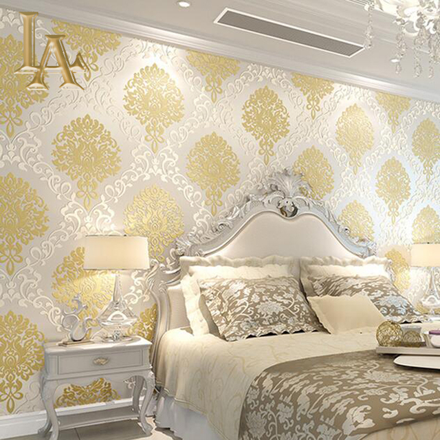 Buy classic european embossed gold for Damask wallpaper bedroom ideas
