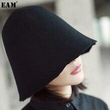 [EAM] Новинка Осень сплошной черного цвета рыбаки Hat женские универсальные модные тенденции