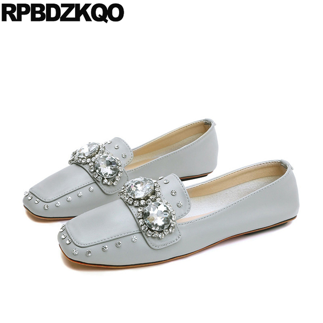 Designer Shoes China Nude 2018 Crystal Unique Chinese Dress Rhinestone Grey Wedding  Square Toe Loafers Women e8c353a1be3d