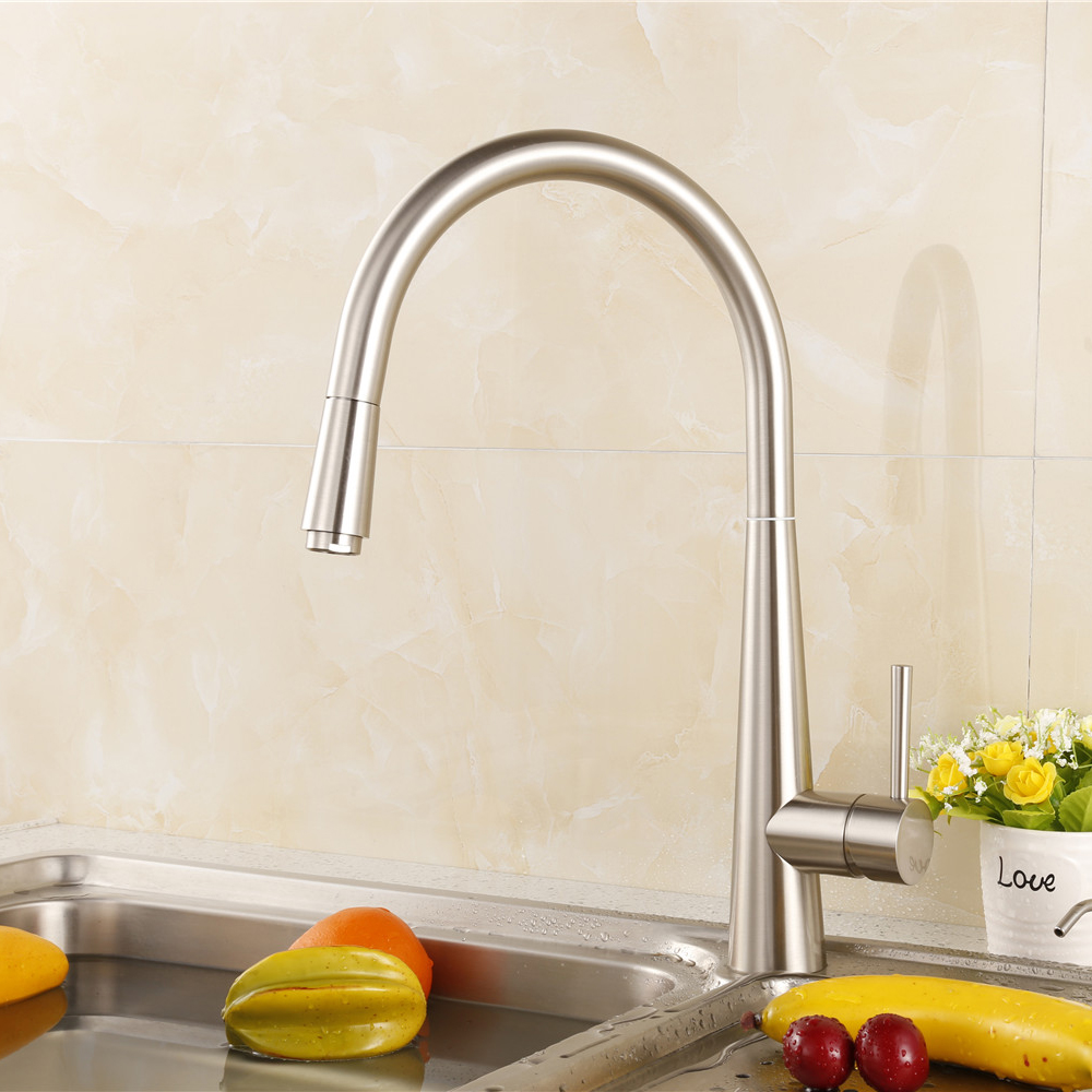 Pull out Kitchen Faucet Brush Nickel Kitchen Mixer Tap Single Hole Deck Mounted Sink Faucet Cold and Hot Water Faucet kitchen chrome plated brass faucet single handle pull out pull down sink mixer hot and cold tap modern design