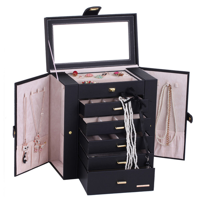 Extra Large Black Jewelry Box Mirrored Jewellery Cabinet Portable Trinkets  Display Armoire Luxury PU Bracelets Necklaces