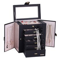 Extra Large Black Jewelry Box Mirrored Jewellery Cabinet Portable Trinkets Display Armoire Luxury PU Bracelets Necklaces Cases