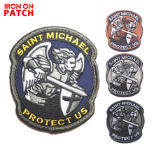 Saint Michael Protect Us Morale Patch Saint Michael Tactical Combat 3D Embroidered Badge for cap Applique Military Armband Patch embroidered patches united states montana state flag patch tactical 3d national flags army armband badge