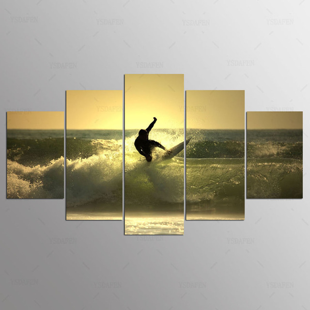 5 panel Modern Surf on the sea hd Art print canvas art wall framed paintings for living room wall picture ny-418