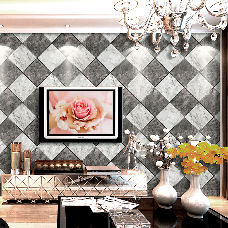Diamond-shaped Tiles Marble Texture Wallpaper Modern Living Room TV Background Wall Decor Waterproof PVC Wallpaper For Walls 3 D diamond wallpaper for walls 3 d mural wallpapers wall decor textile for living room diamond wall paper gold blue coffee