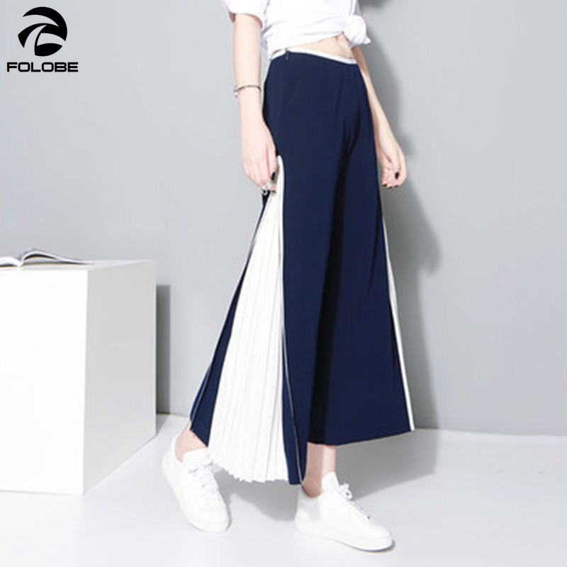 FOLOBE Patchwork Wide Leg   Pants   Female Chiffon High Waist Split Pleated Long Trousers Summer Fashion Women New   Capris   Clothing