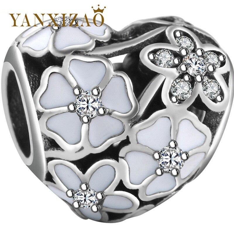 Yanxizao New Silver 925 CZ Charm Beads Fit Pandora Original Zircon Heart Shape Bracelet Pendant Necklace Jewelry Originals GW117