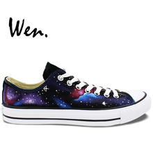 Wen Original Hand Painted Shoes Design Custom Stars Blue Galaxy Nebula Low Top Canvas Sneakers for Men Women