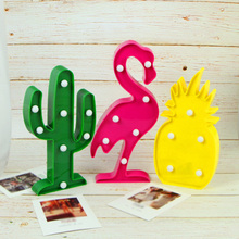 Nightlight Flamingo Pineapple Cactus Tree Home Decoration Crafts Accessorie Kids Room 3D Figurines Miniatures Photography props