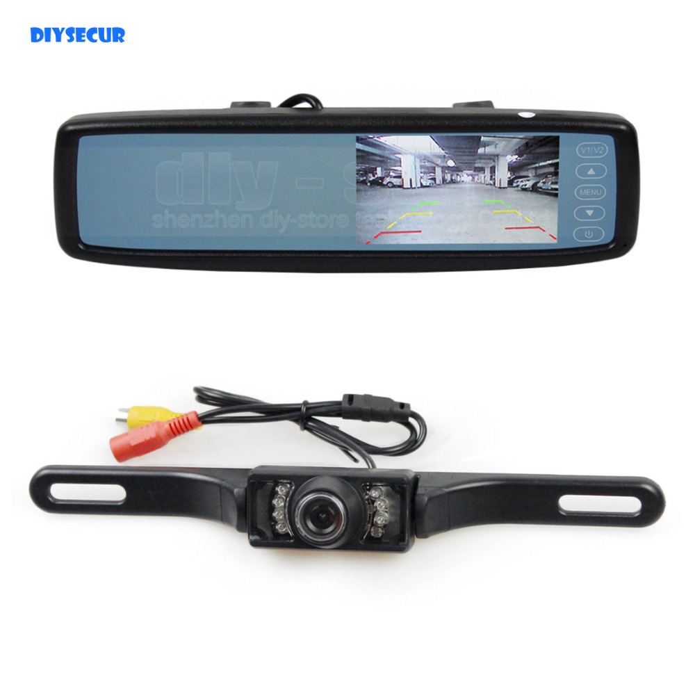 diysecur 4 3 inch tft lcd color monitor rear view mirror. Black Bedroom Furniture Sets. Home Design Ideas