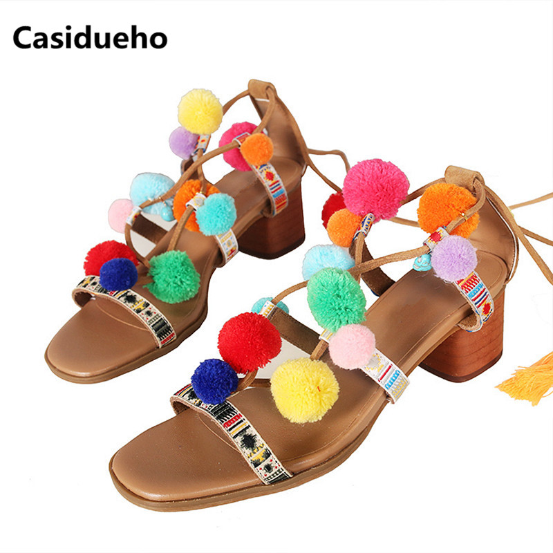 цена Casidueho Gladiator Sandals Women Sexy Peep Toe Pumps Mixed Color Leather Slippers Cross Tied High Heels Shoes Woman Flip Flops