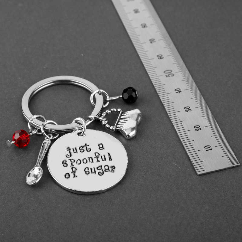 Mary Poppin Gantungan Kunci Sendok Tas Payung Pesona Liontin Kunci Cincin Wanita Perhiasan Gantungan Kunci Hanya Sesendok Gula Keyfob
