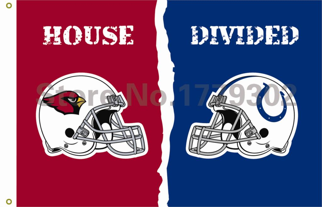 Arizona Cardinals Indianapolis Colts helmets House Divided Flag3ft x 5ft