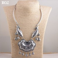 Real S999 pure silver rich more than year long life lock woman's set of chains antique style
