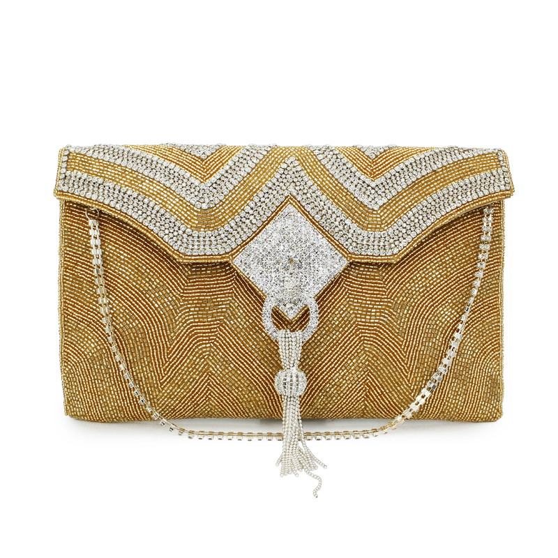 Gold color tassel flap luxury clutch women handbag handmade envelope bag women fashion clutch bags(C132)