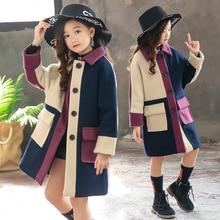 Шерстяное пальто для девочек; Новинка года; Зимняя Детская шерстяная ветровка; модная верхняя одежда для девочек; пальто для девочек; теплая куртка в стиле пэчворк