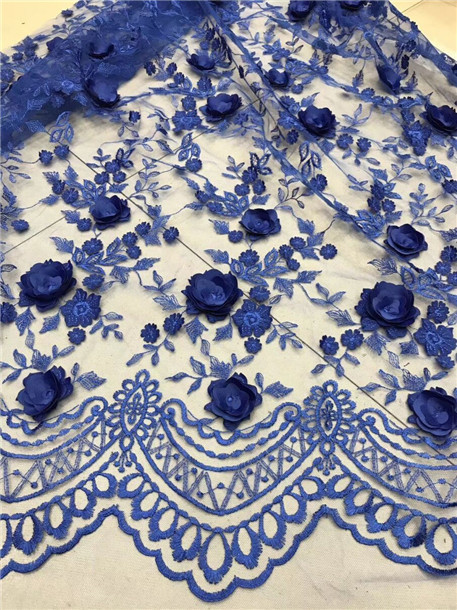 2018 Royal Blue Swiss Voile Lace For Wedding African Fabric High Quality 3 D Beads Flowers French New Fashi In From Home Garden