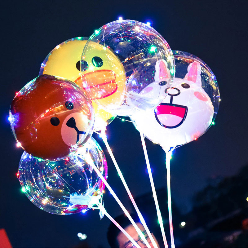 2PCS Cute animal pattern Bobo Balloon Light Wedding Party Decoration Light LED Wedding romance Balloon Light Strings80417 ...