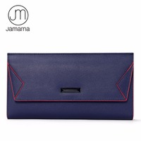 Genuine Leather Contrast Color Edge Paint Women Wallet Vintage Business Credit Card Female Purse Iphone Pocket